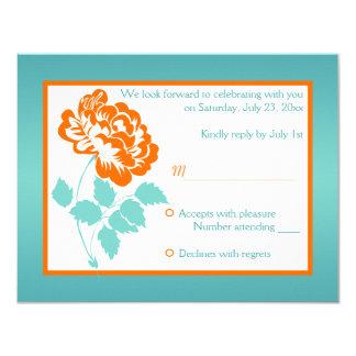Orange Peony with Turquoise Reply Card 11 Cm X 14 Cm Invitation Card