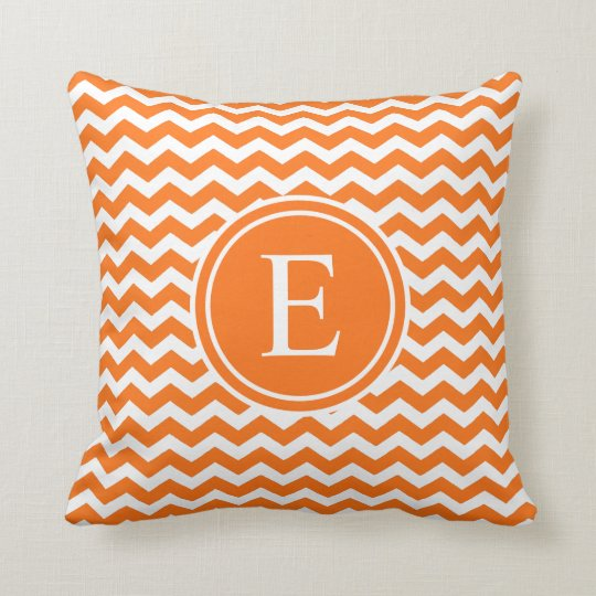 Orange Personalised Chevron Monogram Cushion