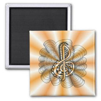 Orange Personalizable Treble Clef Music Art Fridge Magnets