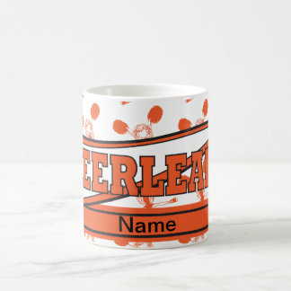 Orange Personalize Cheerleader Girl Silhoutte Basic White Mug