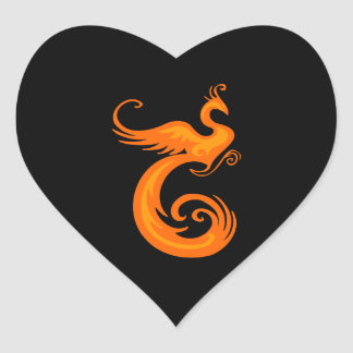 Orange Phoenix Heart Sticker