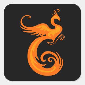 Orange Phoenix Square Sticker