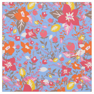 Orange pink and brown flowers fabric