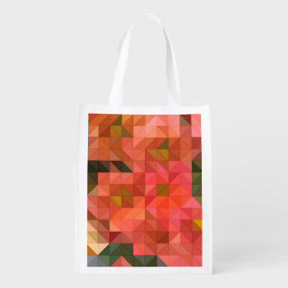Orange Pink and Green Triangles Geometric Design