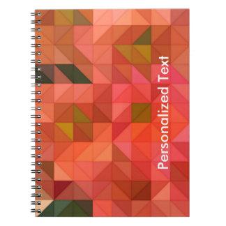 Orange Pink and Green Triangles Geometric Design Note Books