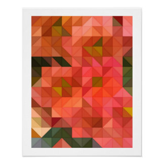 Orange Pink and Green Triangles Geometric Design Poster