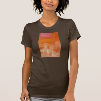 Orange Pink and White Abstract Art Printed Tshirt
