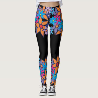 Orange Pink Blue Floral #2 Leggings