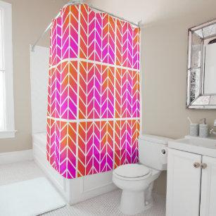 Orange Pink Chevron Shower Curtain