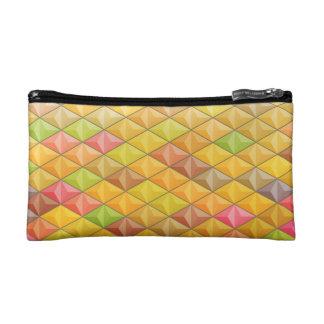 Orange Pink Cubism Geometric Pattern Makeup Bag