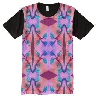 Orange Pink Floral Design All-Over Print T-Shirt