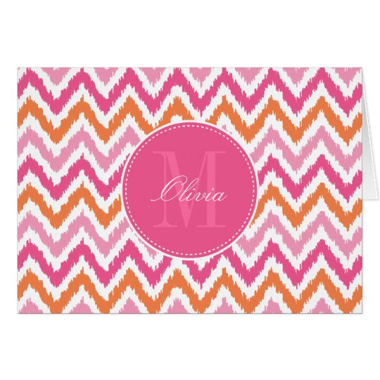 Orange Pink Fuchsia Zigzag Ikat Pattern Card