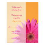 Orange & Pink Gerbera Daisy Wedding Response Card Personalized Announcements