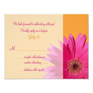 Orange Pink Gerbera Daisy Wedding RSVP Card 11 Cm X 14 Cm Invitation Card