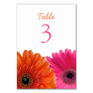 Orange Pink Gerbera Gerber Daisy White Wedding Table Card