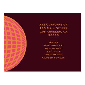 orange pink modern global circle postcard