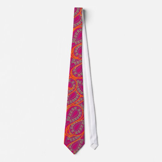 Orange Pink Paisley Peacock Colours Wedding Tie