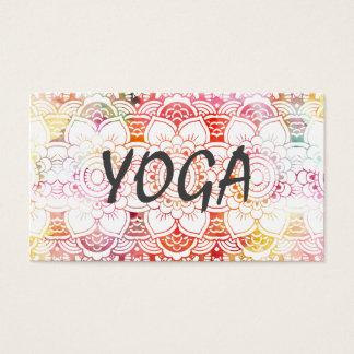 Orange pink pastel watercolor floral mandala yoga