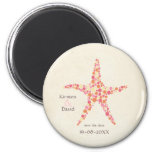 Orange Pink Starfish Save the Date Favour Magnet