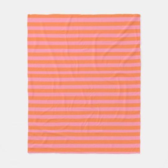 Orange Pink Summer Mood Lines Fleece Blanket