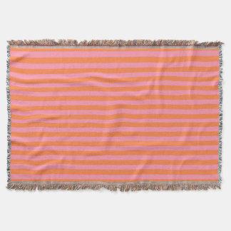 Orange Pink Summer Mood Lines Throw Blanket