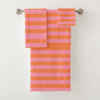 Orange Pink Summer Mood Lines Towel Set