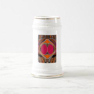 Orange pink superfly design beer steins