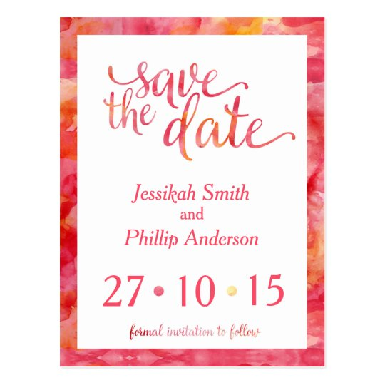 Orange Pink Watercolour Save the Date Postcard