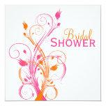 Orange Pink White Floral Bridal Shower Invitation 13 Cm X 13 Cm Square Invitation Card