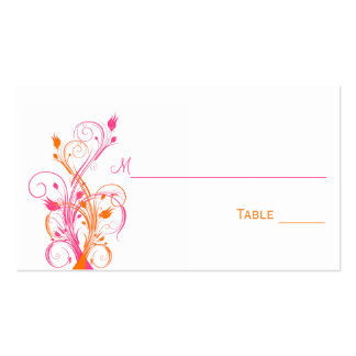 Orange Pink White Floral Place Cards Business Card Template