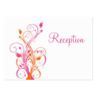 Orange Pink White Floral Reception Enclosure Card Business Card Template