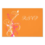 Orange Pink White Floral RSVP Card Personalized Announcement