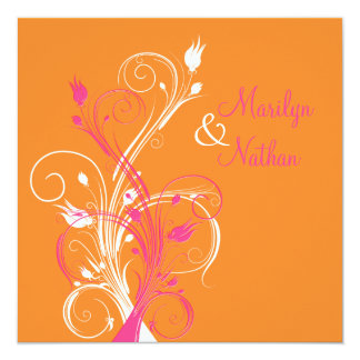"""Orange Pink White Floral Square Wedding Invitation 5.25"""" Square Invitation Card"""