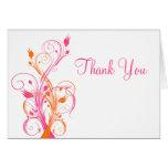 Orange Pink White Floral Thank You Card