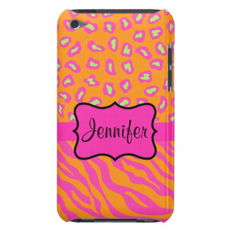 Orange & Pink Zebra & Cheetah Personalized iPod Touch Covers