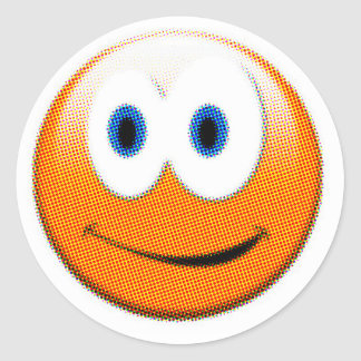 Orange Pixelated Smiley Face Round Sticker