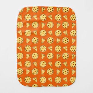 Orange pizza pattern baby burp cloths