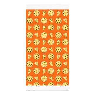 Orange pizza pattern personalized photo card