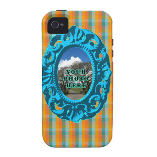 Orange Plaid and Teal Frame Vibe iPhone 4 Covers