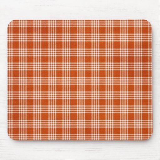 Orange Plaid Mouse Pad