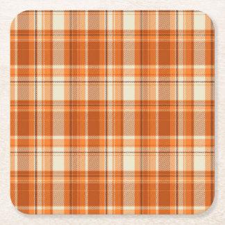 Orange plaid square paper coaster