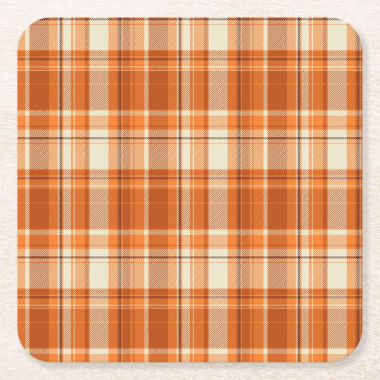 Orange plaid square paper coaster