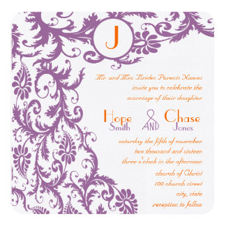 Orange Plum Damask Monogram Wedding Invitation