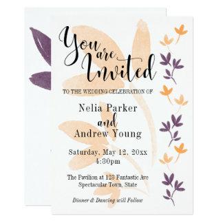 Orange & Plum Leaves Pretty Typography Wedding Card