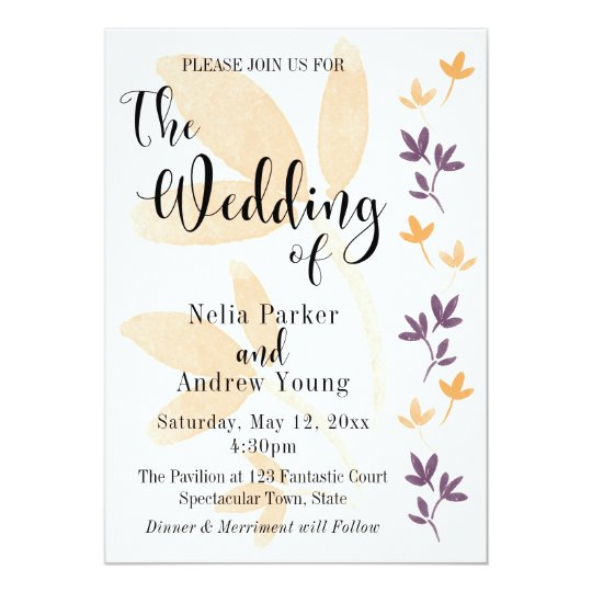 Orange & Plum Leaves Pretty Typography Wedding Card