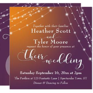 Orange Plum Ombre & Light Strings Wedding 2b Card