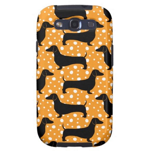 Orange Polka Dachshunds Samsung Galaxy SIII Cases