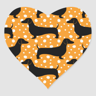 Orange Polka Dachshunds Heart Sticker
