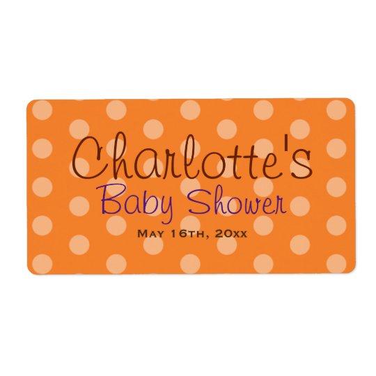Orange Polka Dot Baby Shower Water Bottle Labels