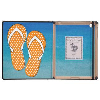 Orange Polka Dot Flip-Flops Covers For iPad
